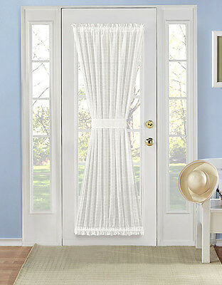 Belinda Plaid Sheer French Door Curtain Panel Assorted