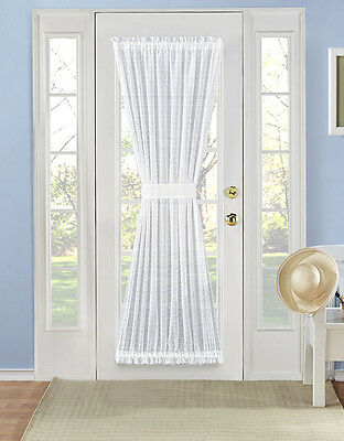 Belinda Plaid Sheer French Door Curtain Panel - Assorted Colors & Sizes - French Door Panel