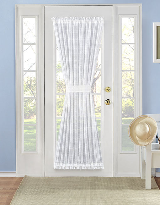 Belinda Plaid Sheer French Door Curtain Panel - Assorted Col
