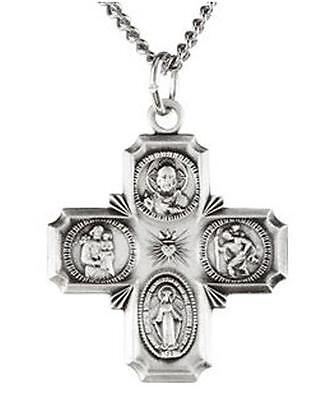 """Sterling Silver .925 Four Way Catholic Scapular Medal 7/8"""" Pendant Cross w Chain"""