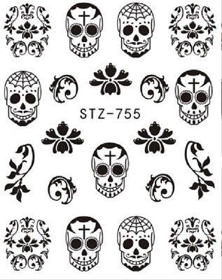 Nail Art Stickers Decals Transfers Black & White Halloween Skulls (STZ755)