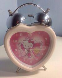 HELLO KITTY HEART SHAPED Pink Alarm Clock Battery Operated, EUC!