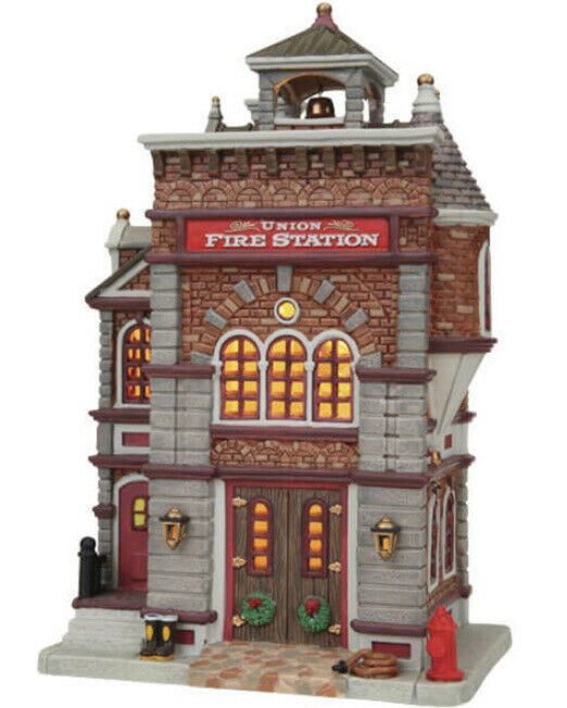 LEMAX Holiday Village  -UNION FIRE STATION -lighted -retired