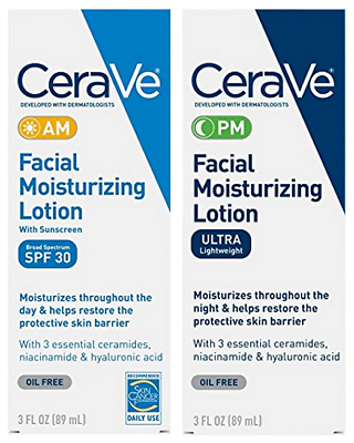 CeraVe Day & Night Face Lotion Skin Care Set | Contains AM &