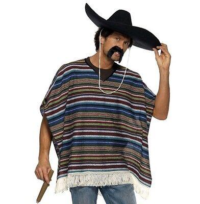 Erwachsene Original Look mexikanisches Kostüm Poncho Mexiko Thema NEU (Original Kostüme Erwachsene)
