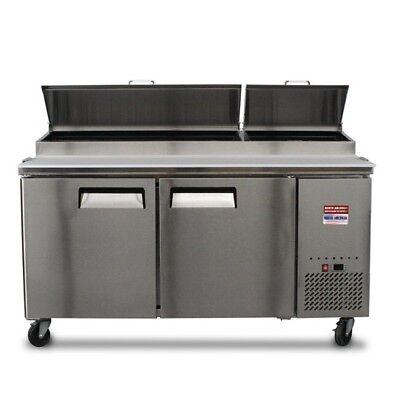 "- Pizza Prep Table 67"" Unit 6' Make Line Refrigerator Prep Cooler 2 Door 72"