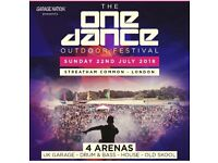 2 ONEDANCE FESTIVAL TICKETS FOR SALE