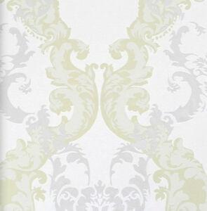 vlies tapete 48660 barock muster ornament weiss gr n silber metallic klassisch ebay. Black Bedroom Furniture Sets. Home Design Ideas
