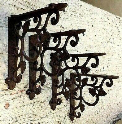 SET OF 4 LEAF & VINE Wall Shelf Bracket Antique Style Brace Rustic Brown Corbel Dining Room Set Bookcase