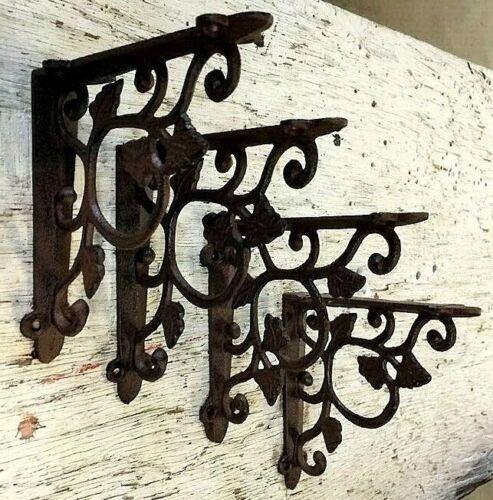 SET OF 4 LEAF & VINE Wall Shelf Bracket Antique Style Brace Rustic Brown Corbel