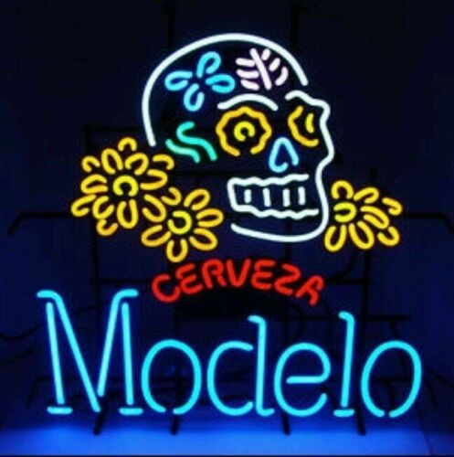 "New Modelo Sugar Haunted Skull Lamp Light Neon Sign 24""x20"""