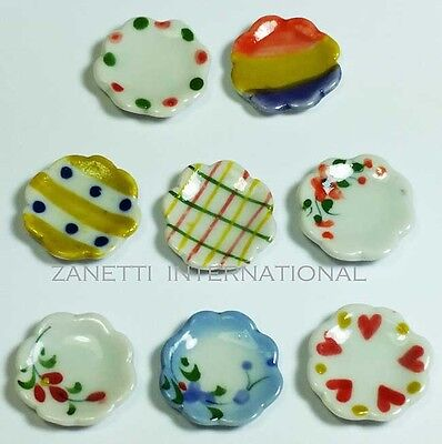 Set of 8 Dollhouse Miniature Mixed Ceramic Plates * Doll Mini Food Dishes Saucer