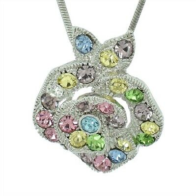 W Swarovski Crystal Multi Color Rose Flower New Pendant Jewelry Necklace Gift