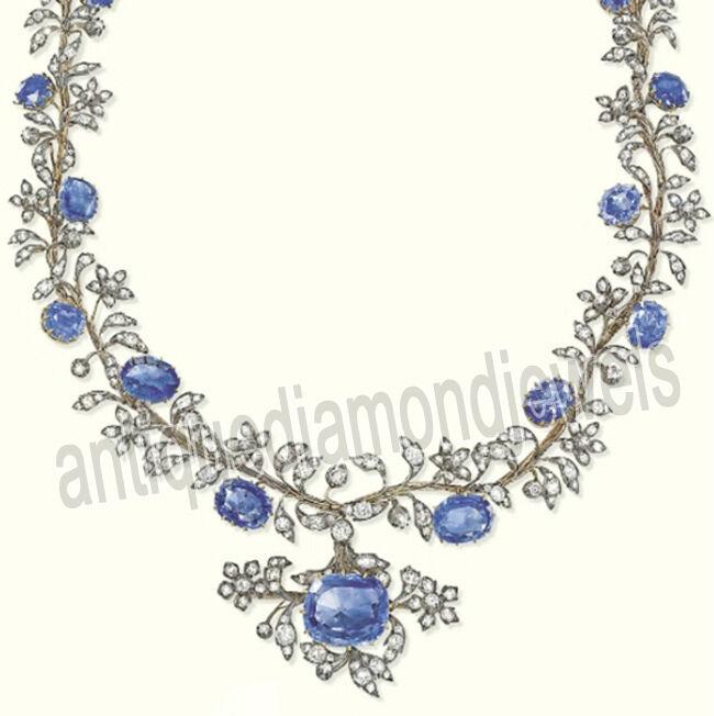 7.28ct Rose Cut Diamond Antique Look 925 Silver Sapphire Gemstone Necklace