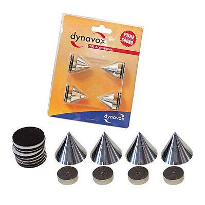 Dynavox Sub-Watt-Absorber Spikes 4er Set Lautsprecher Boxen-Füße Chrom 6991