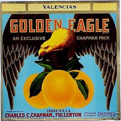 *Original* GOLDEN EAGLE Hi-Top CHAPMAN Fullerton Bird Orange Label NOT A COPY!