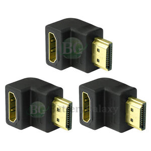 3 HDMI 1.4 Right Angle Adapter 90 Degree for 4K 3D 1080p TV LCD HDTV 300+SOLD