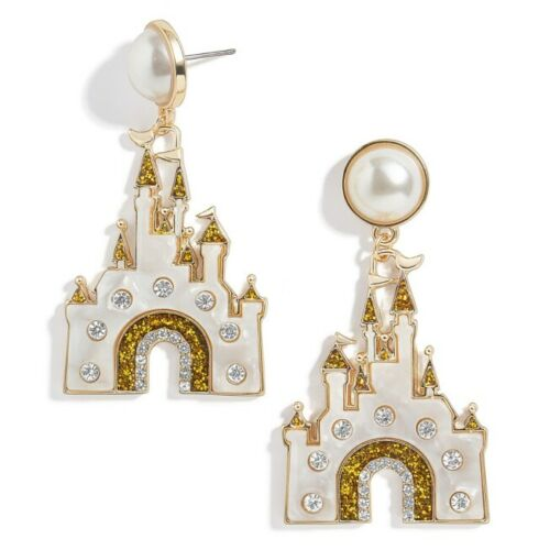 Disney Parks Collection Baublebar Fantasyland Castle WDW Gold Tone Earrings