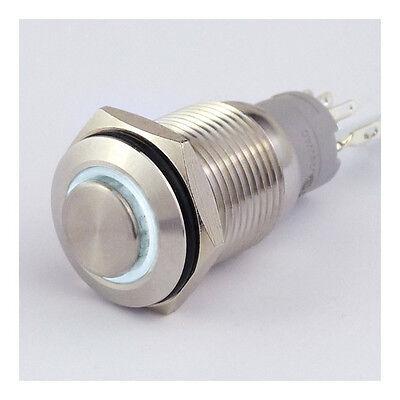 Drucktaster Edelstahl IP67 16mm LED Ring Weiß Schließer Öffner 3A Lötbar 8131