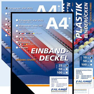 Starterset für Bindegerät - 155 Teile / Binderücken, Deckelfolien, Einbanddeckel