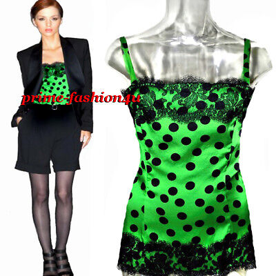 Dolce & Gabbana D&G Black Polka Dot Overlay lace Green Silk Top