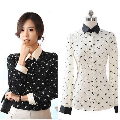 Women's Dog Printed Lapel OL Chiffon Long Sleeve Button Down Shirt Blouse Tops