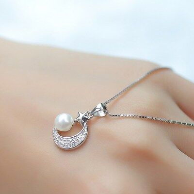 Sterling Silver Moon Star Freshwater Pearl Micro Pave Pendant Necklace Gift Box