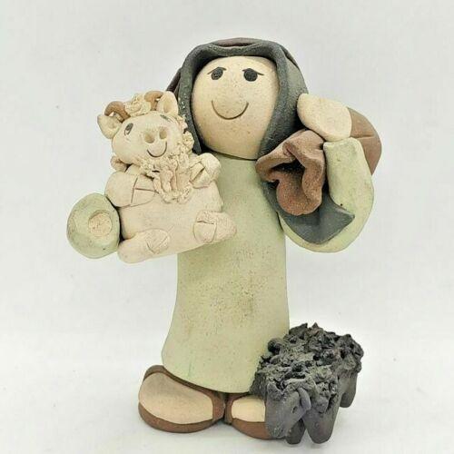 Handmade ceramic sculpture of Moses And Sheep Statue made by Sakalovsky