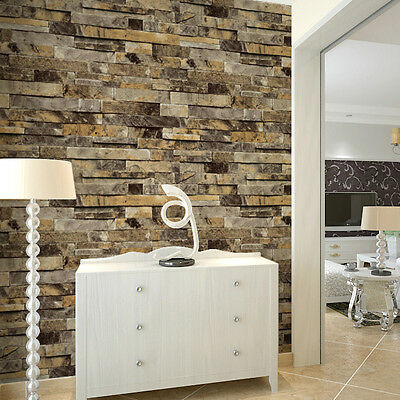 Vinyl vintage faux brick stone 3d wallpaper for home for Stone bathroom wallpaper