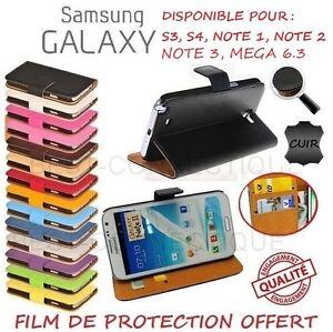 Portefeuille Vrai Cuir Samsung Galaxy S4 S5 S6 Mini Note 2 3 4