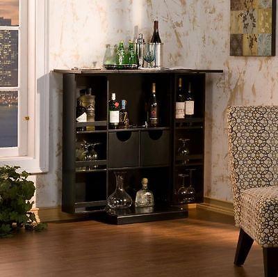 Black Home Bar Cabinet, Wine Liquor Wood Storage, Fold-Out Feature Bar Furniture