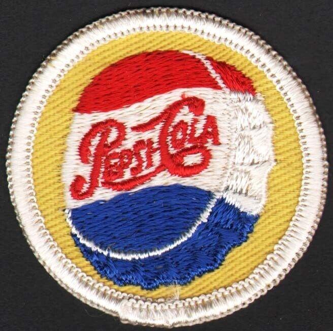Vintage uniform patch PEPSI COLA script bottle cap logo unused new old stock