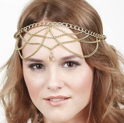 Bohemian Gold Hair Head Chain Boho Headpiece Headband Hippie Summer Festival AG