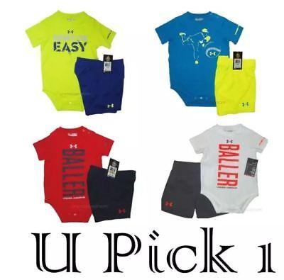 Under Armour Shorts Set 2 PC Outfit Baby Boys Sports Athletic UA Bodysuit Top (Under Armour Jungen Short Set)