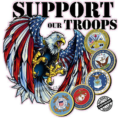 Screaming American Eagle Support Our Troops Version 2 Decal is 6