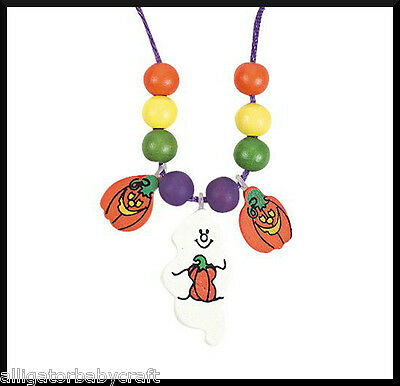 Halloween Charm Necklace Craft kit for Kids Ghost Jack o Lantern Pumpkin ABCraft - Halloween Craft For Kids