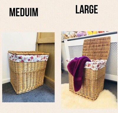 NEW Home Delights Large Or Medium Wicker Laundry Basket Storage With Lid/ Lining