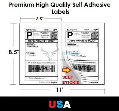 Premium Self Adhesive 8 5 X5 5  Laser Shipping Labels 2Up 2 Per Page