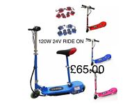 KIDS ELECTRIC E SCOOTER 120W 24V RIDE ON CARS OUTDOOR, Open Sun From 12 to 8