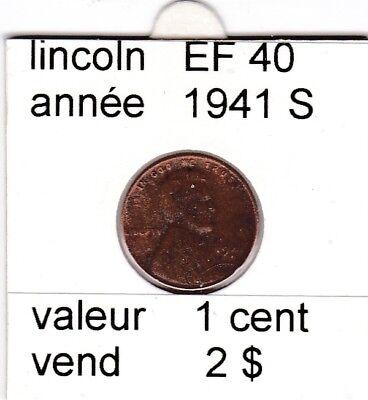 e2 )pieces de 1 cent lincoln  1941 S   voir description