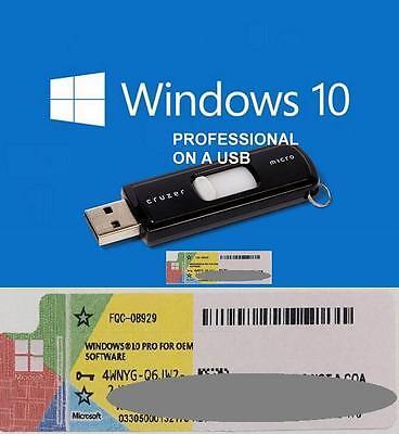 Windows 10 Pro Professional 64bit Licence + bootable USB