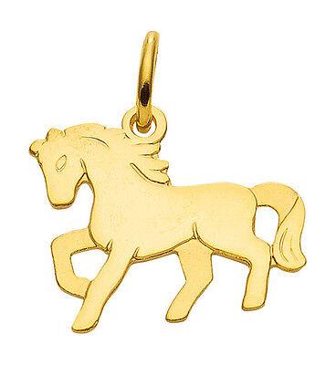Mädchen Kinder Anhänger Pony Pferd Echt Gold 333 mit Kette Silber 925 vergoldet