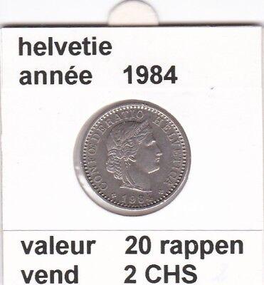 S 1) pieces suisse de 20  rappen de 1984   voir description