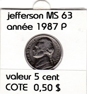e3 )pieces de 5 cent 1987 P  jefferson