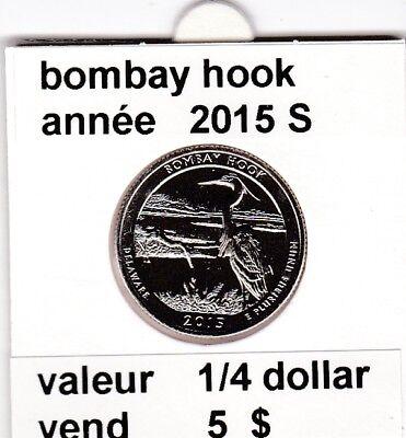 e 3)pieces de 25 cent  2015 S bombay hook