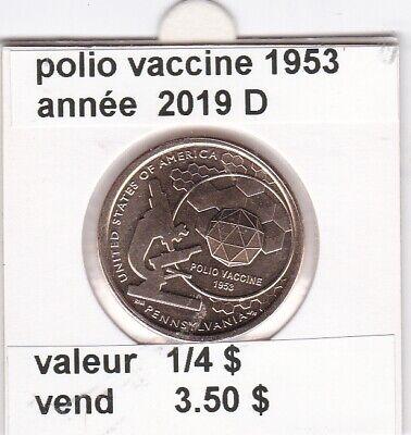 e 3 )pieces de 1 dollar de 2019 D deux de une serie 4