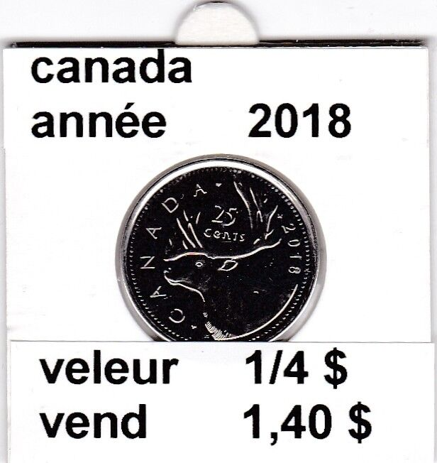 C1 )pieces de 25 cent canada   2018