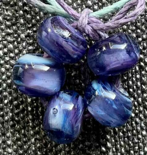 DFJ Lampwork 5 USA Handmade Frit Glass Spacer Bead ~Purple Swirl~