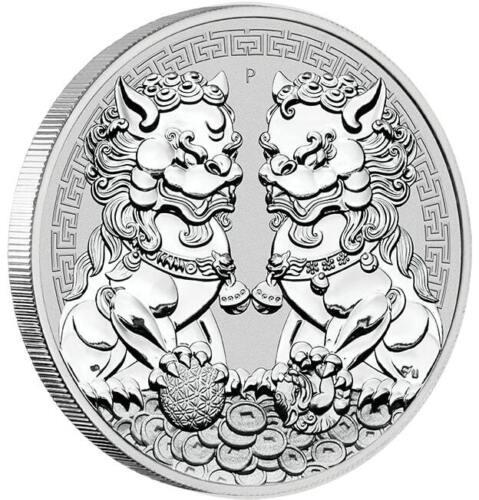 GUARDIAN LION (DOUBLE PIXIU) - 2020 1 oz Pure Silver Coin in Capsule  Perth Mint