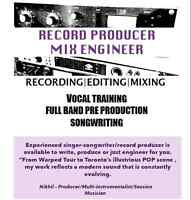 Producer/songwriter offering studio to develop music for talent